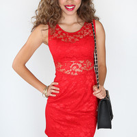 Lace Charmer Dress - Red