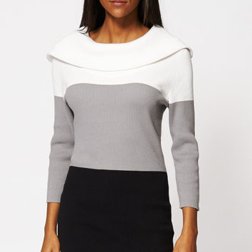 Colour Block Turn Down Collar Knitted Jumper