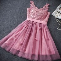 2016 Short Tutu Prom Homecoming Dress Pink Lace Flowers Embroidery Stitching Mesh Bridesmaid Bandage Mini Gown Dress
