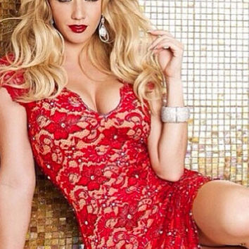Red Plunging V-Neckline Open Back Lace Dress Bejeweled with Rhinestones