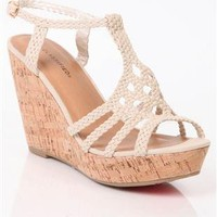open toe platform crochet wedge with cork heel and braided straps - 1000044515 - debshops.com