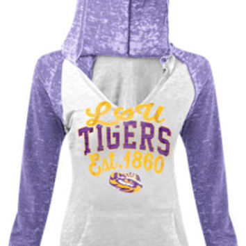 Women's New Era Lsu Tigers College Burnout Raglan Pullover Hoodie | Finish Line