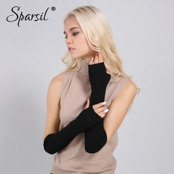 Sparsil Women Winter Arm Warmers Cashmere Fingerless Long Gloves