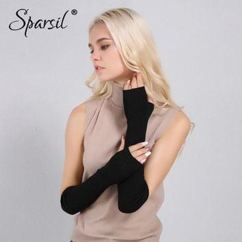 Sparsil Women Winter Arm Warmers Cashmere Fingerless Long Gloves Solid Warm Mittens Elbow Thread Knitted Sleeves 50cm Glove