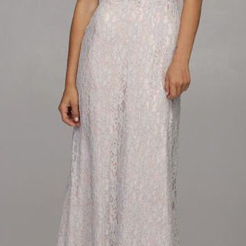 Strapless Sweetheart Neckline Long Lace Silver Mermaid Dress