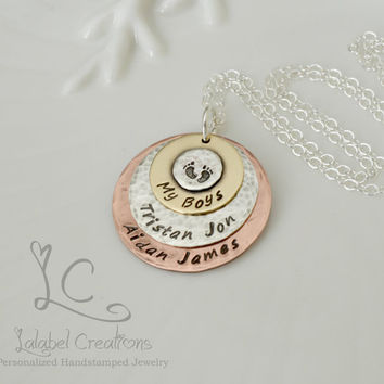 My Boys Necklace, Personalized Mother's Necklace, Hand Stamped Necklace, Personalized Gifts for Mom, Kids Names Necklace
