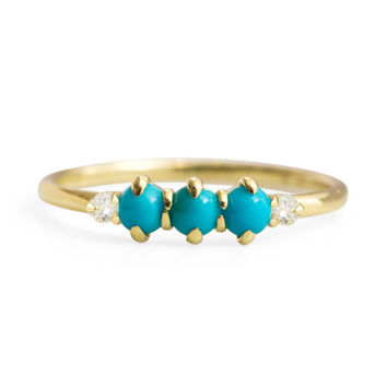Felicia Turquoise and Diamond Ring - ILA - Catbird