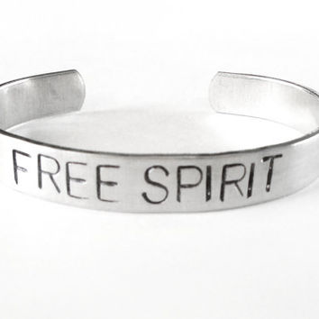 hand stamped bracelet - bird jewelry, free spirit, silver cuff - bohemian boho gypsy jewelry, stacking