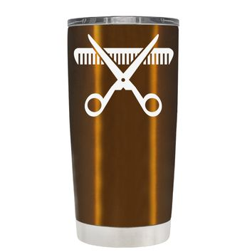 HairStylist Scissor and Comb Silhouette on Copper 20 oz Tumbler Cup