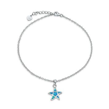 Starfish Blue Created Opal Charm Anklet Ankle Bracelet Sterling Silver