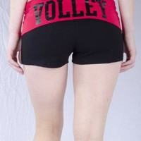 Juniors Two Tone Fold Over Volleyball Spandex Shorts Pink or Turquoise (Large, Fuchsia)