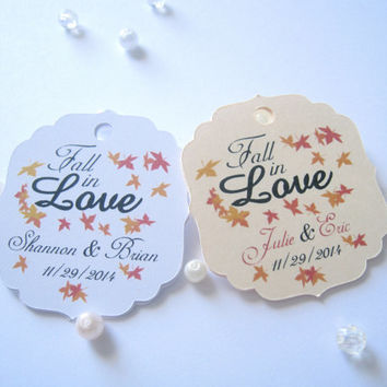 Personalized favor tags, wedding favor tags, fall wedding,  gift tags, party favor tags, thank you tags - 30 count