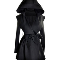 Slim Hooded Black Trench Coat [NCSOX0081] - $170.99 :