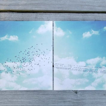 "Large Wall Art | Birds on Wire Poster Print Set | Two 12"" x 12"" Wall Art Prints 