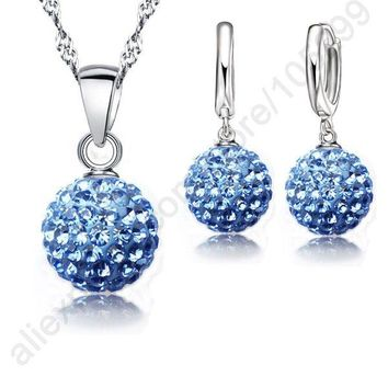 925 Sterling Silver Austrian Crystal Pave Disco Ball  Earring Pendant Necklace