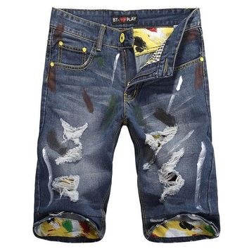 ICIK9 Summer Men Ripped Holes Denim Fashion Pants Shorts [6034438081]