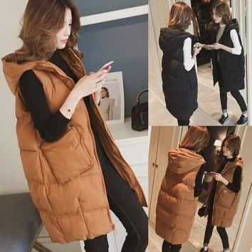 Women Hooded Long Vest Jacket Gilet Sleeveless Waistcoat Women's Outerwear with Hood