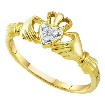 14kt Yellow Gold Womens Round Diamond Claddagh Heart Ring .01 Cttw