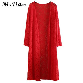 Lace Dress long Cardigans 2017 Summer Women Beach Cover Tunics Vestido Mujer Robe Femme Pink Red Black White Plus Size L~4XL 5XL