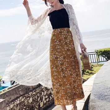 Embroidered shawl thin coat summer vacation seaside beach sun protection clothing female long lace cardigan