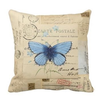 Vintage Blue Butterfly French Postcard Pillow