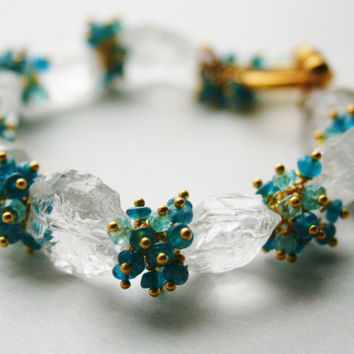 Icy Nugget Gemstone Bracelet with Apatite and Aquamarine - Beaded - Gold Wire wrapped - Etsy Jewelry Store