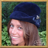 "Embellished Italian ""Corona"" Vintage Navy Blue Velvet Woman's Hat, Original Rhinestone Flower Pin and Vintage Applique with Blue Beads"