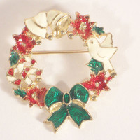 Vintage Christmas Wreath Goldtone Pin Brooch Candy Canes Doves  Fashion Jewelry