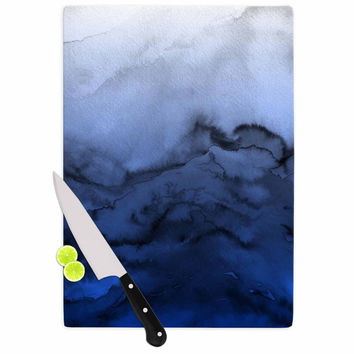 "Ebi Emporium ""Winter Waves 3"" Blue Black Cutting Board"