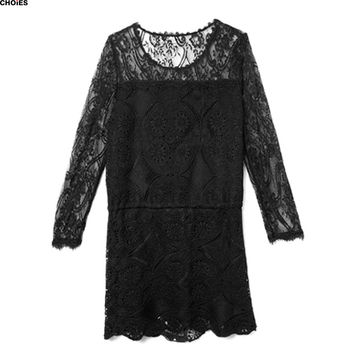 Women Black Long Sleeve Sheer Lace Tie Waist Round Neck Scalloped Hem Shift Mini Dress 2016 Spring Summer Casual Sexy Clothing