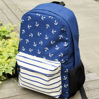 Fashion Anchor Striped Print Canvas Backpack-Navy Blue