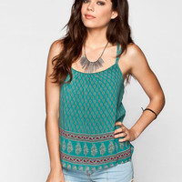 Full Tilt Boho Border Print Womens Cami Multi  In Sizes