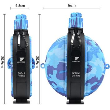 New Design foldable water bottle Kettle Foldable Travel Sports Bottle Silicone Collapsible Water Bottle with Compass