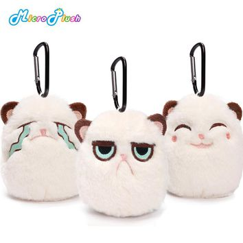 MICROPLUSH 2pcs/set Grouchy kitten Cat Mini Charm Pendant Keychain Holiday Ornament Angrey Cat Plush Soft Stuffed Animal Toys