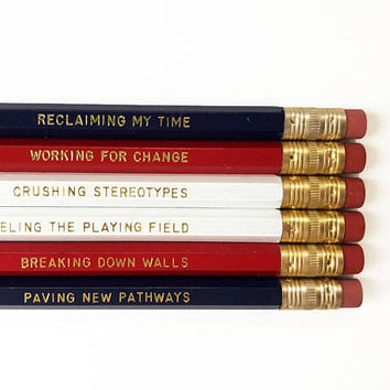 Women of the House pencil set - feminist pencils - inspirational pencils - Maxine Waters - Nancy Pelosi - reclaiming my time engraved pencil