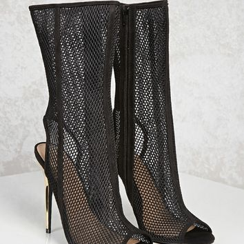 Mesh Knit Stiletto Boots