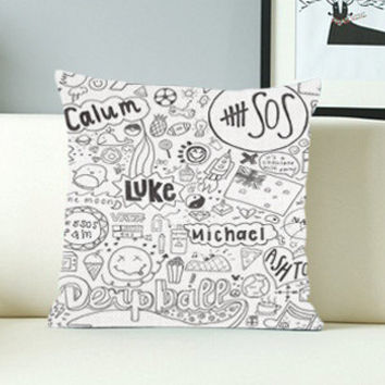 5 Seconds of Summer Collage - Design Pillow Case with Black/White Color.