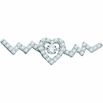 10kt White Gold Womens Round Diamond Twinkle Moving Solitaire Heartbeat Heart Necklace 1/3 Cttw