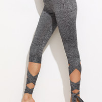 Grey Marled Cropped Tie Leggings
