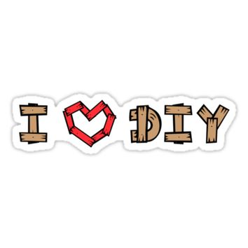 'I love (heart) DIY - wooden letters' Sticker by Mhea