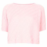 Knitted Quilted ZigZag Jumper - Pale Pink