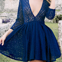 Blue Plunge Neck Sheer Applique Skater Dress