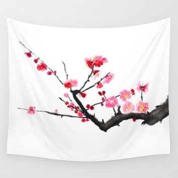 red plum flower  Wall Tapestry by Color and Color