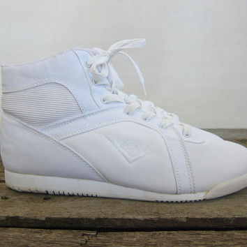 vintage white 80s high top Pony sneakers. lace up fabric shoes. women's size 9
