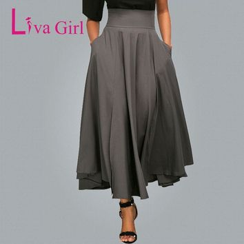 Liva Girl Autumn Women Maxi Skirt Vintage Retro High Waist Pleated Belted Skirt Back Bow Long Party Skirts Jupe Longue Femme