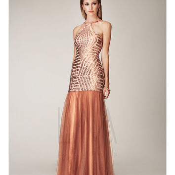 LM by Mignon Spring 2014 Dresses - Bronze Sequin Zig Zag Low Back Mermaid Prom Dress
