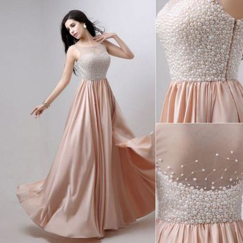 PEAPIH3 Fashion new dress vest type long annual banquet pearl evening dress