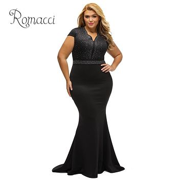 Romacci Club Party Dress Female Rhinestone Scalloped V Neck Plus Size Dress High Waist Long Gown Big Size Elegant Formal Dress