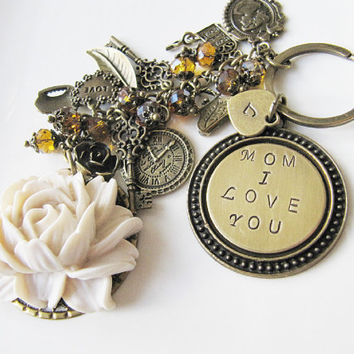 Mom I Love You personalized keychain, bag charm, handmade, gift for mother, for her, mum, vintage style, Europe
