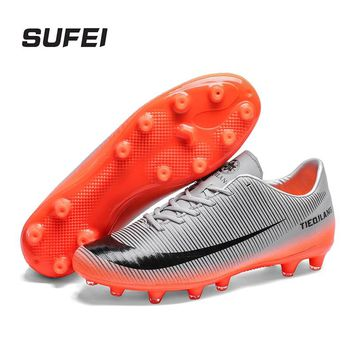 sufei Men New Soccer Shoes AG Outdoor Women Trainer Ankle Football Boots Turf Cleats Breathable Sneakers Futsal Shoes